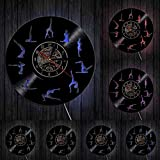 Om Yoga Studio Reloj de pared Gimnasia Vinilo Record Reloj de pared Zen Meditación Diseño Moderno...