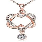JewelleryClub Collar De Corazón Rosa De Oro Plateado Swarovski Elements Cristal de Bloqueo de Corazón Collar Colgante para Las Mujeres