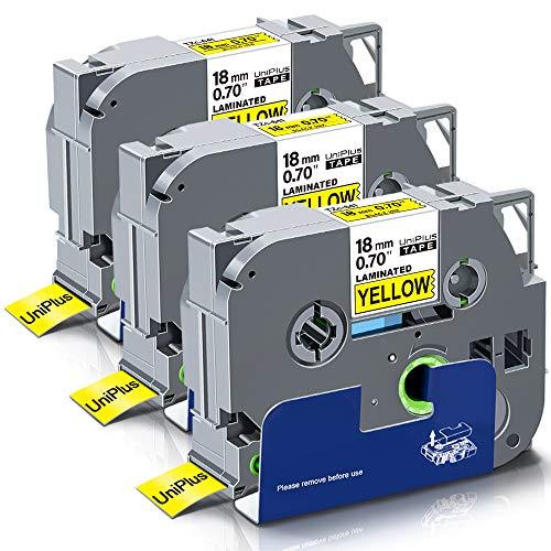 UniPlus 3x Kompatible Schriftband als Ersatz für Brother TZe-641 TZ-641 TZe641 18mm TZe Tape Schwarz auf Gelb für P-Touch PT-D400 PT-9600 PT-9700 PT-P700 PT-P750W PT-D450VP PT-D600VP PT-E500VP