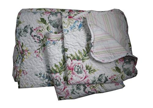 Linder Jeté Boutis Motif Fleuri-Ensemble literie Fleurs, 100% Ouate 60% Coton/40% Polyester, Blanc/Multicolore, 230x250