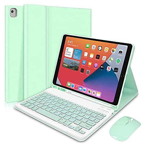HaoHZ Funda de teclado para iPad 10.2 8.7ª generación 2020, coreano, 7 colores retroiluminados, funda fina de piel, funda inteligente, color verde