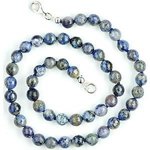 Dumortierit Halskette Dumrotierit Kugeln facettiert Größe ca. 8 mm mit Perlseide geknotet Verschluss 925er Sterling…