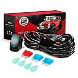 Nilight 10011W 16AWG Wiring Harness Kit-2 Leads LED Light Bar 12V On/Off 5 Pin Rocker Switch Power Relay Blade Fuse for...