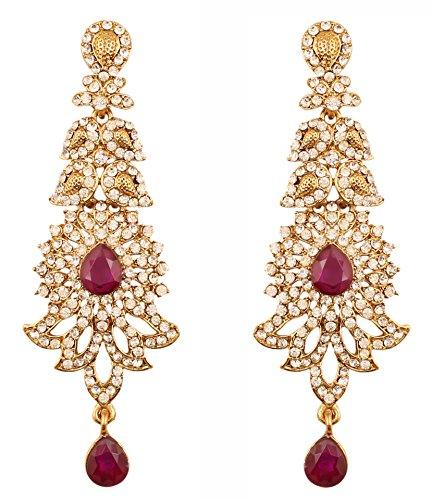 Touchstone Bollywood indiano rinnova orecchini gioielli da sposa di design con ametista viola per donna Viola