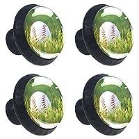 キッチンキャビネットノブ4個セット-プルノブ引き出しとドレッサーハンドル- 草の野球