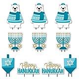 Big Dot of Happiness Hanukkah Bear - Polar Bear Dreidel Menorah Lawn Decorations - Outdoor Chanukah Holiday Sweater Party Yard Decorations - 10 Piece