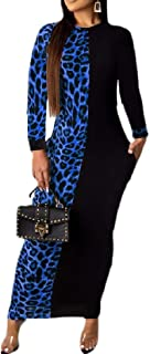 Women's Pocketed Leopard Contrast Color Long-Sleeves Long Maxi Dress