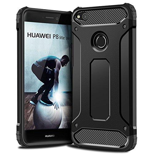 P8 Lite 2017 Hülle,Coolden Premium Armor Outdoor Stoßfest Handyhülle Silikon TPU Bumper Cover Doppelschichter Schutzhülle für Huawei P8 Lite 2017,P9 Lite 2017,Nova Lite 2017,Honor 8 Lite (Schwarz)