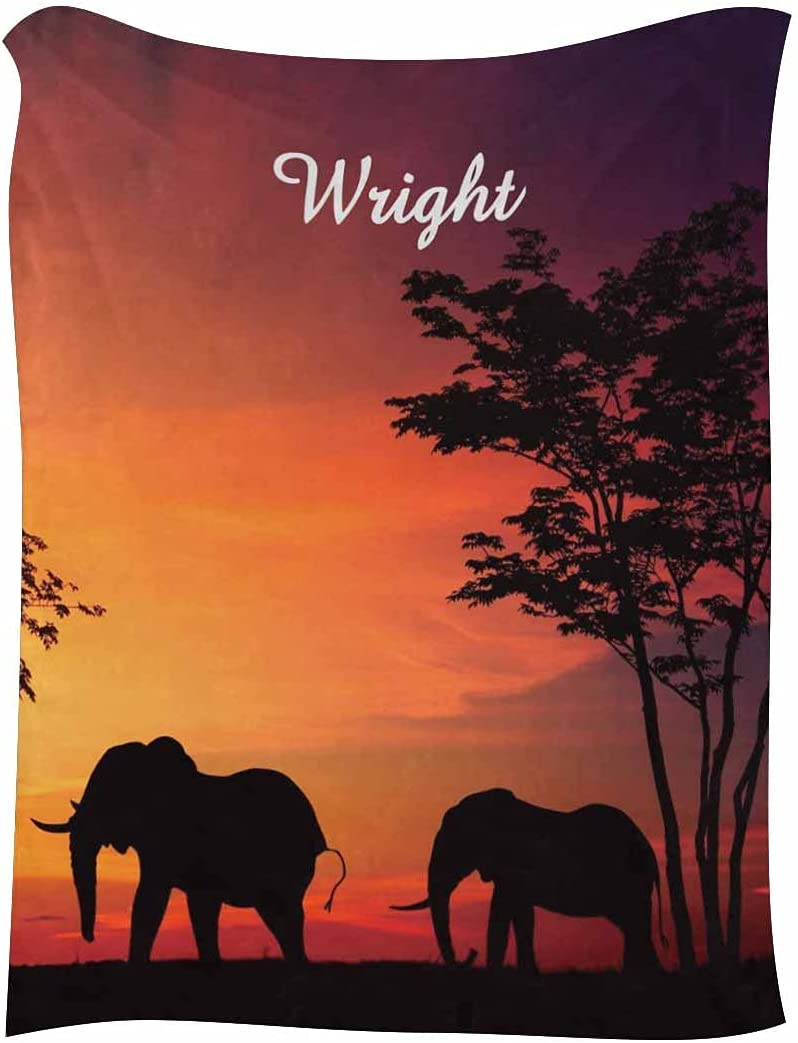 Custom Your Name Bed Colorado Springs Mall Blanket Elephant 5% OFF and Fleece Tree Throw