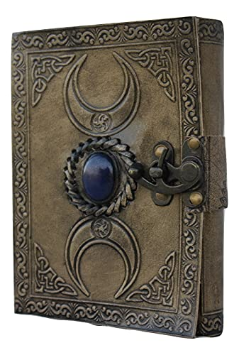 Celtic Leather Grimorie Journal, Triple Moon charcoal Blank Spell Witch Journal, Book Of Shadows Wiccan Pagan Journal Daily Clasp Lock, Third Eye Lapiz Blue Stone Journal, Handmade Unlined Leather Journal, Handcraft Leather Journal, Semi Precious Stone Moon Journal With Deckle Papers Vintage Old Antique Leather Diary Journal