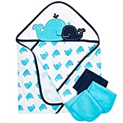Gerber 4-Piece Hooded 26 x 30  Towel and 9 x 9  Washcloth Set, Whale