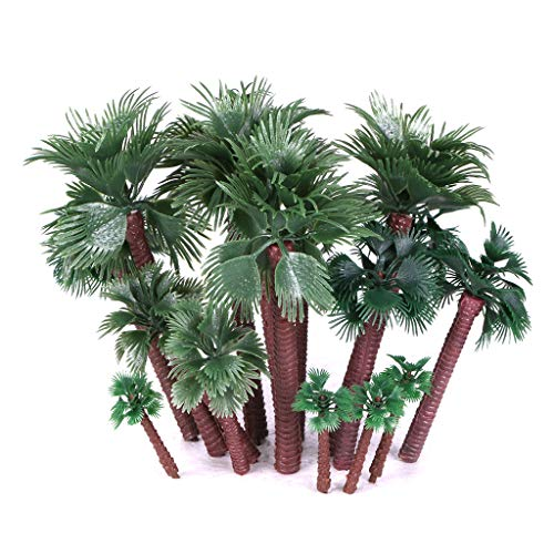Ymeibe 20 PCS Model Palm Trees Mini Layout Rainforest Plastic Train Coconut Palm Tree Diorama Miniature Landscape Trees
