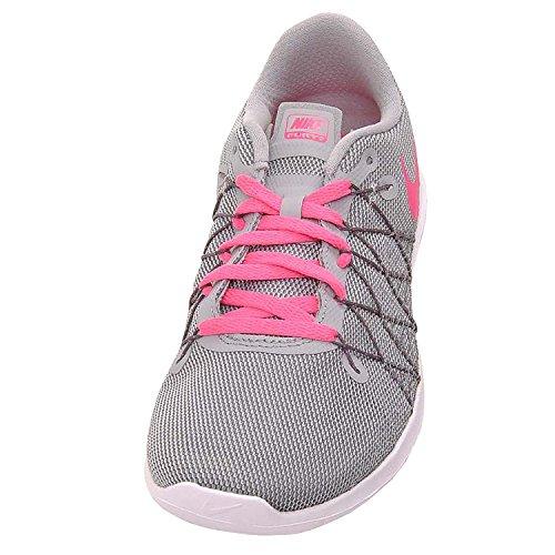 NIKE Girl's Flex Fury 2 Running Shoes Wolf Grey/Dark Grey/White/Hyper Pink 7Y