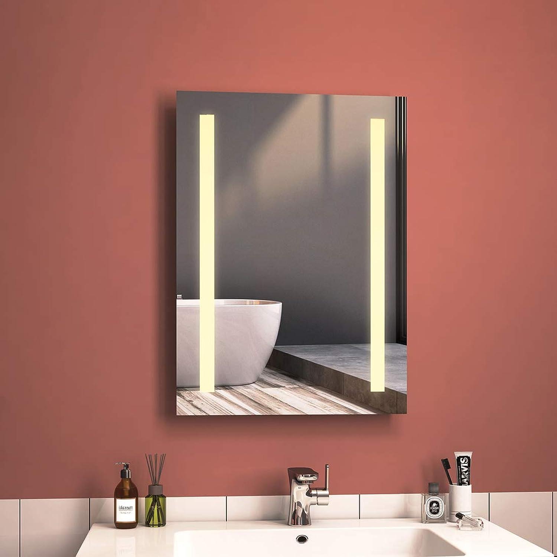 HKMK Badspiegel Mit Beleuchtung 50 x 70 cm Badezimmerspiegel LED Spiegel Wandspiegel, Warmwei