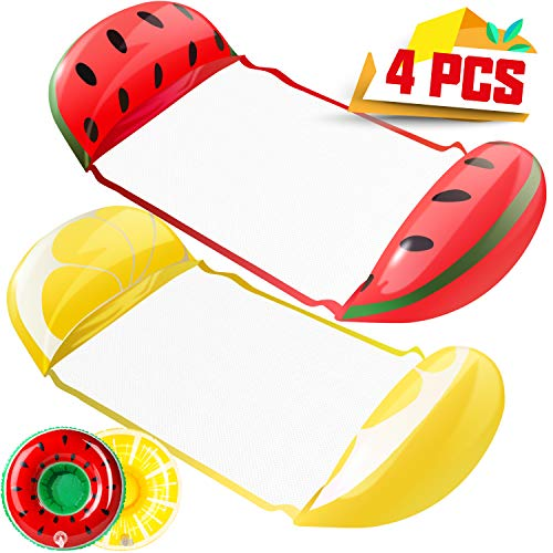 KIDPAR 2 PacksWater Hammock, Inflatable Pool Floats in Fruit Shape, Comfortable Floating Chairfor Adults and Kids, Fun Backyard Swimming Pool Raft