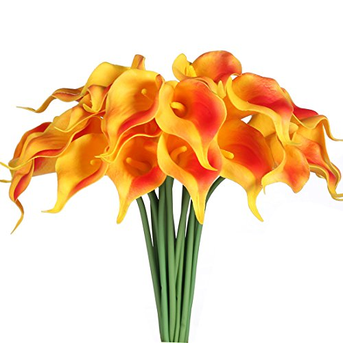 JUSTOYOU 20pcs Artificial Calla Lily Real Touch Latex Flower for Bride Wedding Home Decor(Orange)