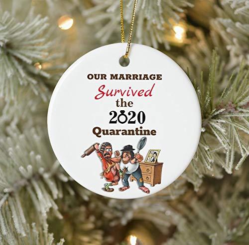 None-brands Christmas Xmas Decor 2020 Ornament Monagram Ornament Quarantine Ornament Funny Cartoon Couple Marriage 2020 Quarantine Ceramic