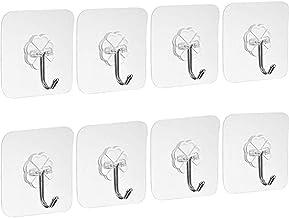 8x Strong Adhesive Seamless Hook Transparent Waterproof Towel Bath Hooks Wall Hangers for Kitchen Bathroom Door