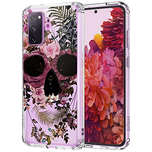 MOSNOVO Galaxy S20 FE Case, Skull Floral Flower Pattern Clear Design Transparent Plastic Hard Back Case with TPU Bumper Protective Case Cover for Samsung Galaxy S20 FE 5G