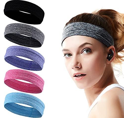Sport Stirnband für Damen und Herren, 5 Stück Schweißband Stirnband Männer und Frauen, Schweißabsorbierendes Stirnbänder
