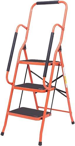 popular LUISLADDERS 3 Step Ladder Tool Ladder Folding Steel Frame Non-Slip Safety Padded sale Handrails online Large Area Pedals (330lbs) outlet sale