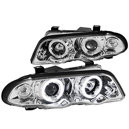 Spec-D Tuning LHP-E46994-TM Chrome Projector Headlight (3 Series Halo Housing 4 Door Sedan)