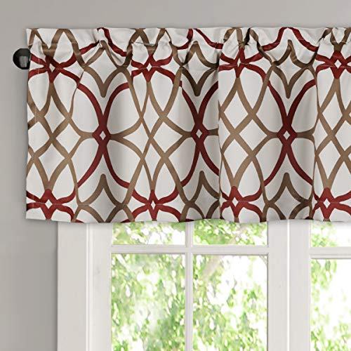 H.VERSAILTEX Blackout Curtain Valances for Kitchen/Bathroom - Thermal Insulated Window Valances for Living Room/Bedroom Rod Pocket Short Curtain 1 Panel, 52x18 inch, Geo in Taupe and Red