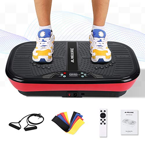MaxKare Vibration Plate Platform Machine-Whole Body Fitness Vibration Massage Workout   2 Loop+5 Resistance Bands   3 Vibrating Zone+99 Speed+10 Mode-Excercise Machine for Weight Loss & Toning