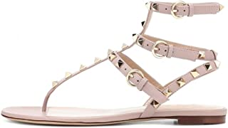 vocosi Women's Rivets Studded Flats Shoes T-Strap Strappy Flats Thong Sandals Shoes