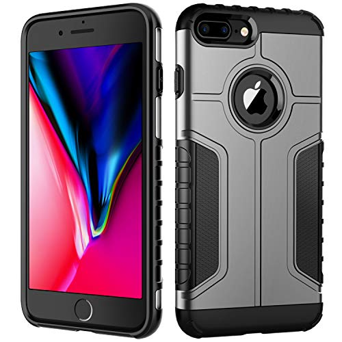 JETech Funda Compatible iPhone 8 Plus y iPhone 7 Plus, Carcasa Protectora de Doble Capa Absorción de Choque, Gris