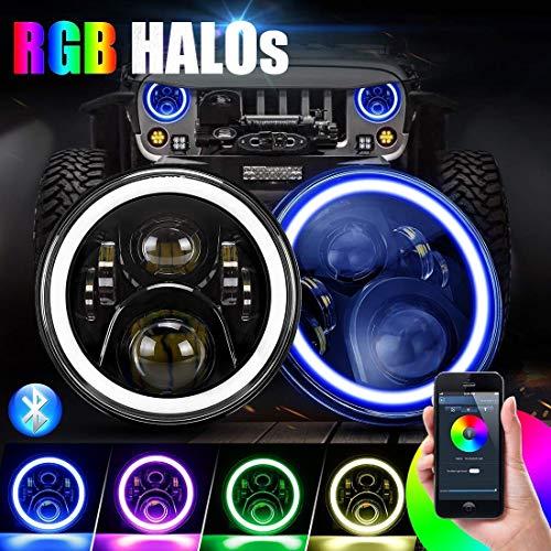 ICBEAMER 7' RGB LED Headlights Bulb Halo Angel Eye DOT Approved Phone APP Bluetooth Control for 1997-2018 Jeep Wrangler