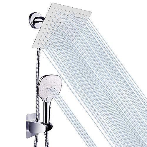 Shower Head with Hose, High Pressure Stainless Steel 8 Inch Rain Showerhead and 3 Settings Handheld Shower Spray Combo with Push Button Flow Control(NearMoon Square Shower Head Set)