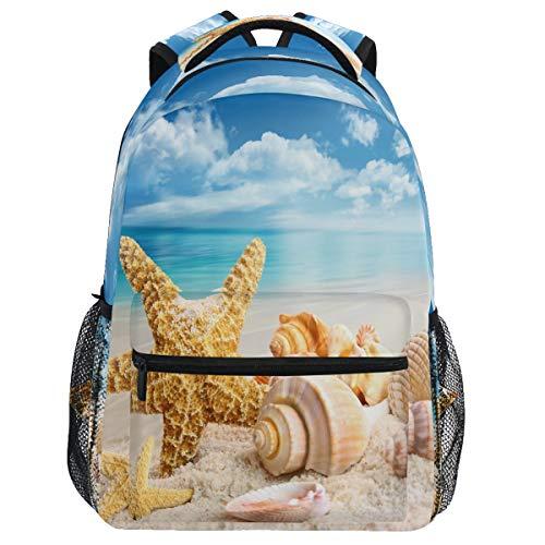 Oarencol Mochila con conchas de mar para verano, arena y playa, color azul cielo océano mochila de viaje senderismo camping escuela portátil