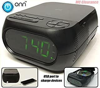 Onn CD/AM/FM Alarm Clock Radio with USB port to charge devices + with Large 1.2 inch green LED display + Aux-in jack, Top Loading CD player ONA202 (Certified Refurbished)