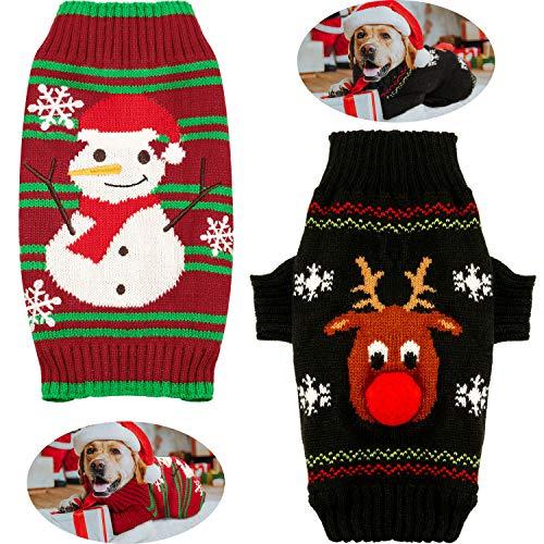 Syhood Hunde-Weihnachtskostüm mit rotem Rentier und Schneemann für Hunde, Weihnachtspullover für Herbst und Winter, Kleidung für Teddy-Pudel