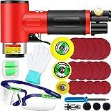 DFESKAH - Miniamoladora de aire comprimido de 5,8 cm con equipos de protección, amoladora angular con placa de respaldo de 1, 2 o 3 pulgadas, pulidora excéntrica, para pulir coches, muebles, metal