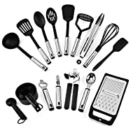 JJA Kitchen Utensil Set & Gadget, Stainless Steel 24 Pcs, Silicone Handles, Suitable for Cooking, Ba...