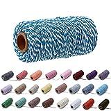 Cuerda de algodón de Colores de 100 Yardas / 2 mm, Cuerda Artesanal para Tejer, Cuerda para Manualidades, Envoltura de Regalos (Azul Blanco)