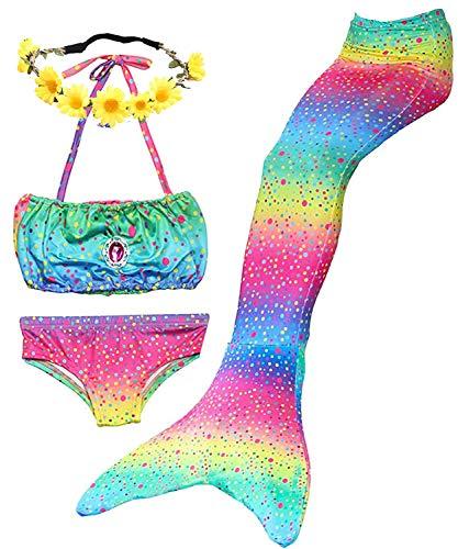 Camlinbo 3Pcs Girls Swimsuits Mermaid for Swimming Mermaid...