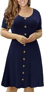 Women's Summer Plus Size Short Sleeve Button Down Causal...