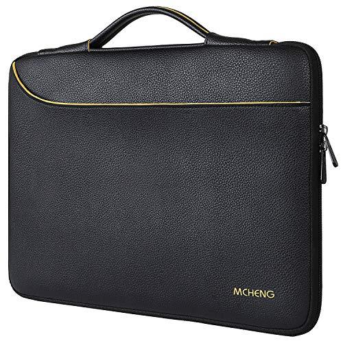 MCHENG - Custodia impermeabile per computer portatile da 15 – 15,6 pollici, multifunzione, tasca per business d'affari/custodia Messenger con manico per Netbook/Lenovo/ASUS/HP/Dell, colore: Nero