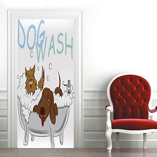 FGHYTR Adhesivo 3D para puerta, póster autoadhesivo de PVC de 77 x 200 cm, arte de decals creativo, papel pintado para puerta, impermeable, extraíble, decoración para dormitorio
