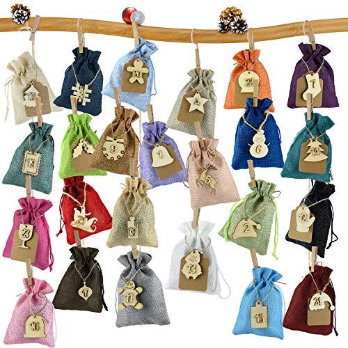 Laffity Adventskalender zum Befüllen, 24 Geschenksäckchen, 1-24 Adventskalender Zahlen Holz Deko, Weihnachtskalender Geschenksäckchen zum Befüllen