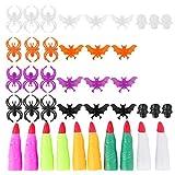 Toyvian Set di 50 giocattoli per Halloween, per feste di Halloween, ragni, pipistrello, anelli e dita della strega, giocattolo per bambini (colore misto)