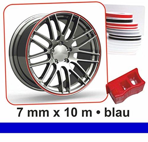 carstyling XXL Zierstreifen Wheel-Stripes für Autofelgen blau 7 mm x 10 m ~ schneller Versand innerhalb 24 Stunden ~