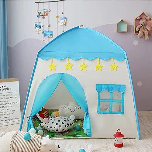 Casa de Campaña con Diseño de Castillo para Niños - Transpirable Castillo de Princesa con Decoración de Estrellas para Guardar Juguetes Uso Interior y Exterior - Azul - 130cm x 100cm x 130cm (L*W*H)