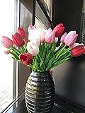 Künstliche Tulpen, 20 Stück künstliche Tulpe Blume Latex Real Touch Bridal Wedding Bouquet für Hochzeitszimmer Home Hotel Party Dekoration (Hellrosa tiefrosa rot)