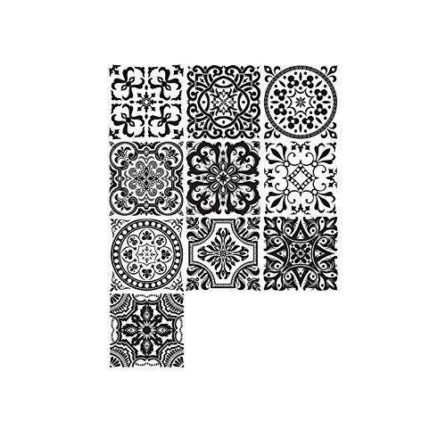 Tashido 10 Piezas Negro Etiqueta Engomada de Azulejo Autoadhesiva BaaO Cocina Escalera de Pared Piso Etiqueta Engomada de Pared DecoracióN del Hogar 20X20 Cm
