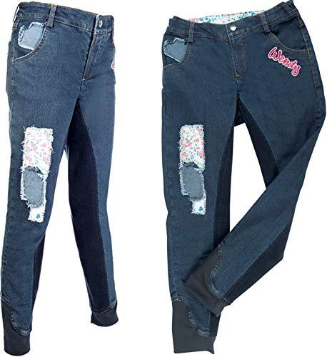 HKM Erwachsene Reithose-Wendy Denim-3/4 Alos Besatz6100 jeansblau Hose, 164
