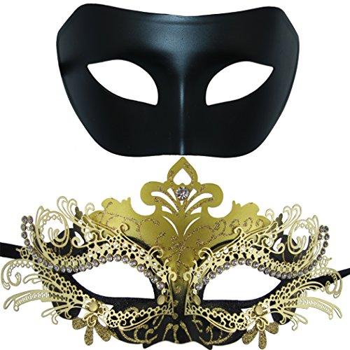 Máscara de Metal de la mascarada de pareja, Máscara de fiesta de disfraces de Halloween de Rhinestone brillante veneciano (paquete de 2) (Negro y negro-dorado)